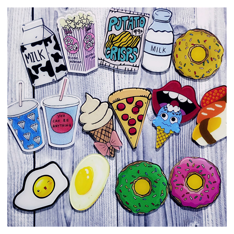 Retro Acrylic Food Pins for Decorating Bags