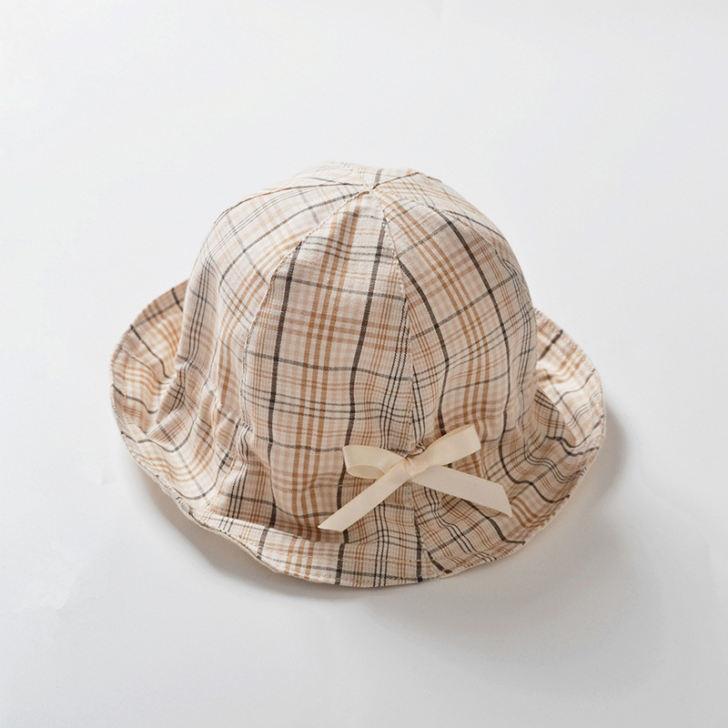 Cute Plaid Bucket Hat with Small Ribbon Bow for Sunny Days Out