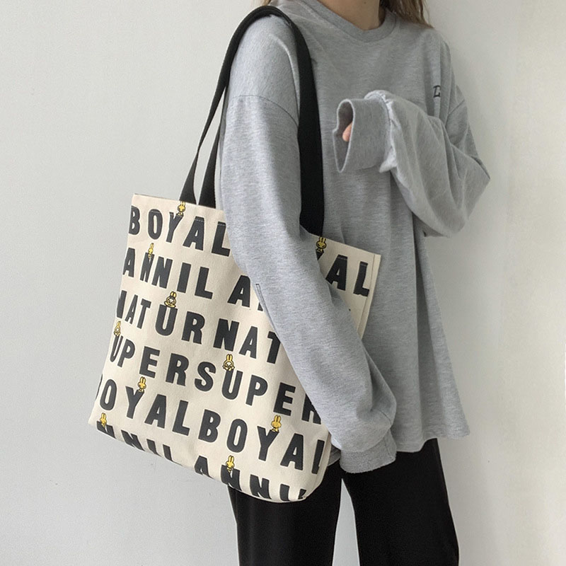 Blocky Lettering Wide Tote Bag for Trendy Shopping Days