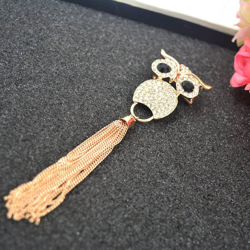 Boho Owl and Tassel Brooch for Luxe Events