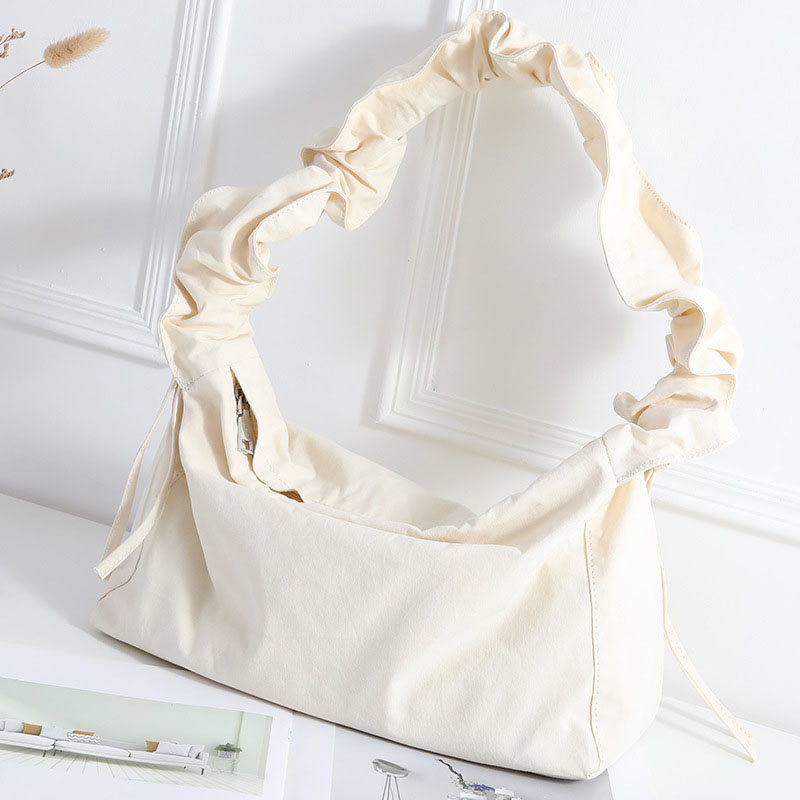Odd Ruched Canvas Baguette Bag for Trendy Yet Soft Looks