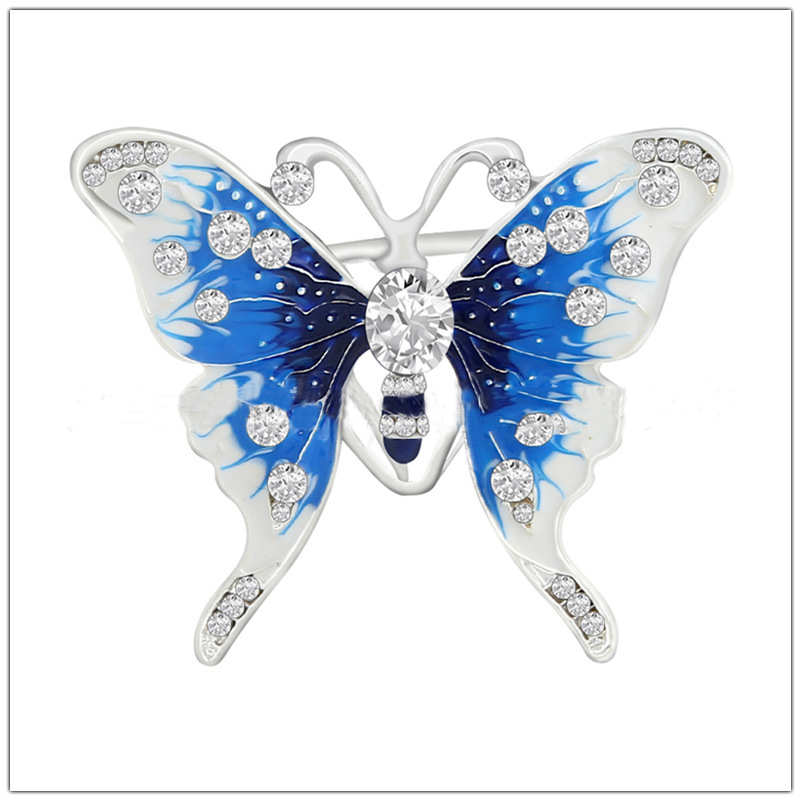 Playful Painted Butterfly Brooch for Scarves