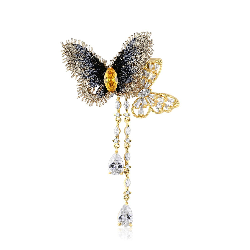 Golden and Graceful Butterfly Brooch with Tassels for Fairy-Inspired Looks