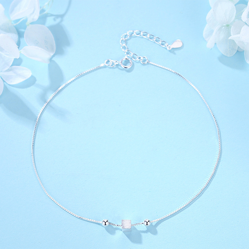Stunning Spheres and Silver Cube Mod Anklet for Minimalist Outfits