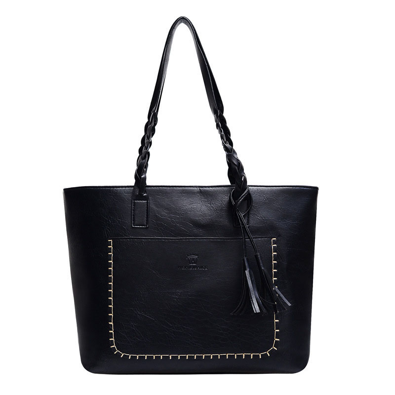 Synthetic Braided Leather and Tassel Bag for Formal Business Meetings