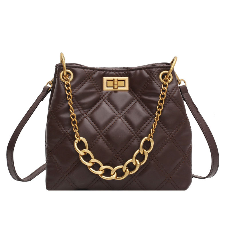 Quilted Synthetic Leather and Golden Hardware Shoulder and Hand Bag for Multiple Styles