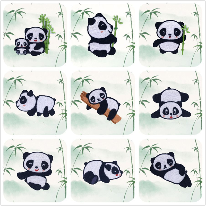 Adorable Panda Patches for Clothing Decoration