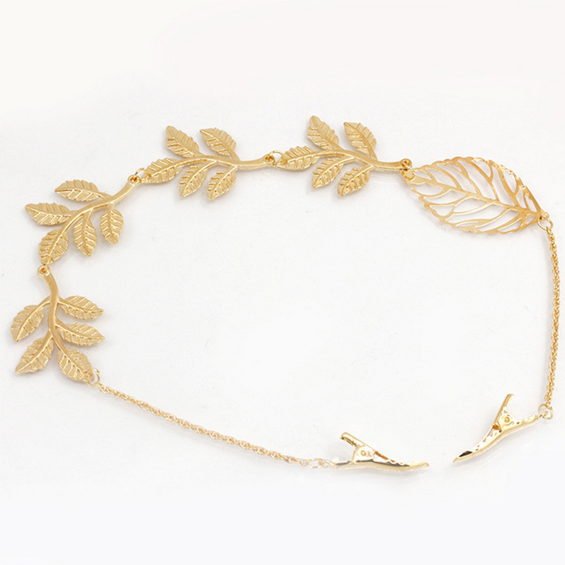 Ornate Leaves and Butterfly Hair Clip Chain for Weddings