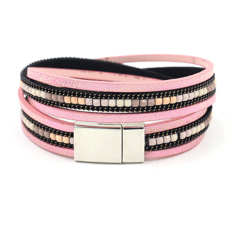 Multilayer Faux Leather Magnetic Buckle Bracelet for Street Style Fashion