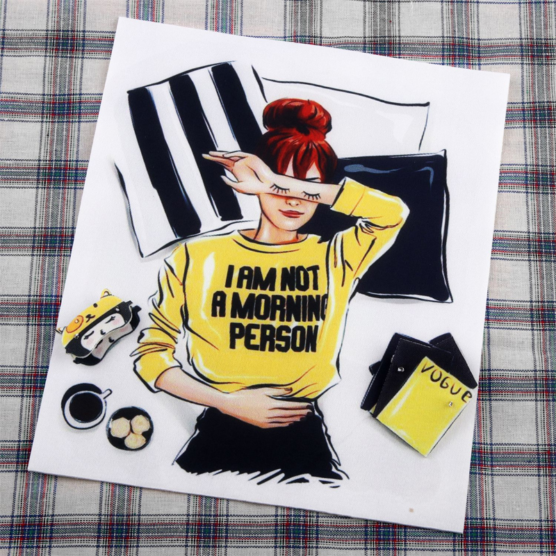"""Yellow and Black Themed """"Not a Morning Person"""" Patch for Sewing on Sweaters"""