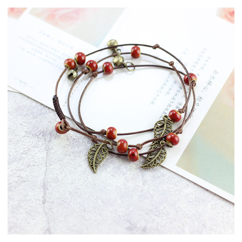 Hippie Cherry Forest Rope Bracelet for Boho Chic Look