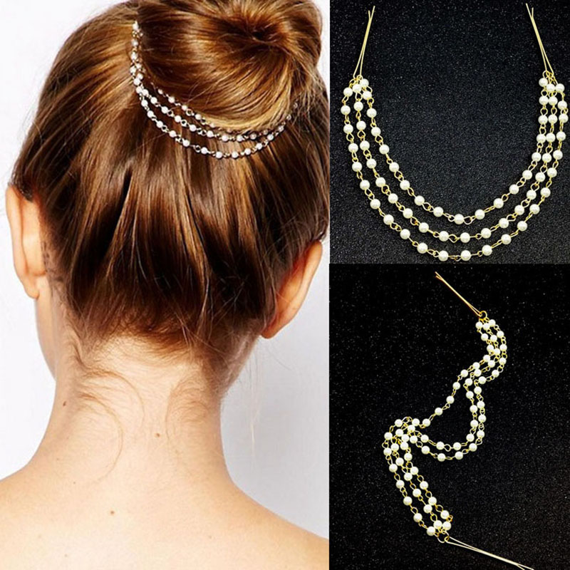 Pretty Multilayer Faux Pearl Chain Hairclip for Styling Buns