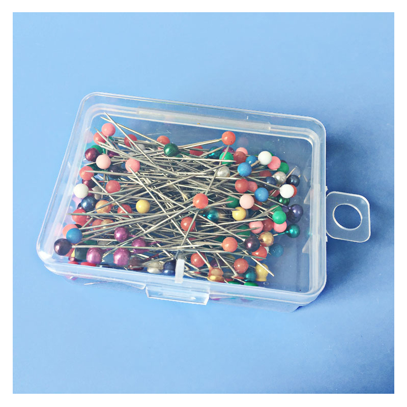 Box of Bead Pins for Sewing and Stitching