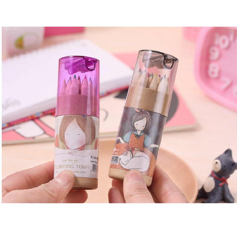 Cute Mini Wooden Color Pencils with Sharpener for Kids