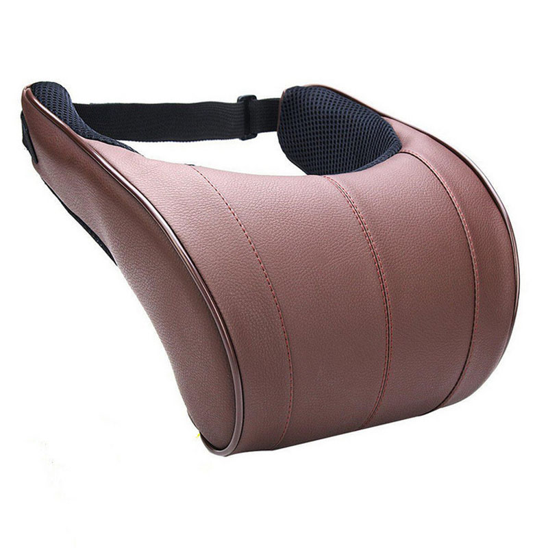 Convenient PU Leather Neck Pillow with Memory Cotton for Comfy Car Seats