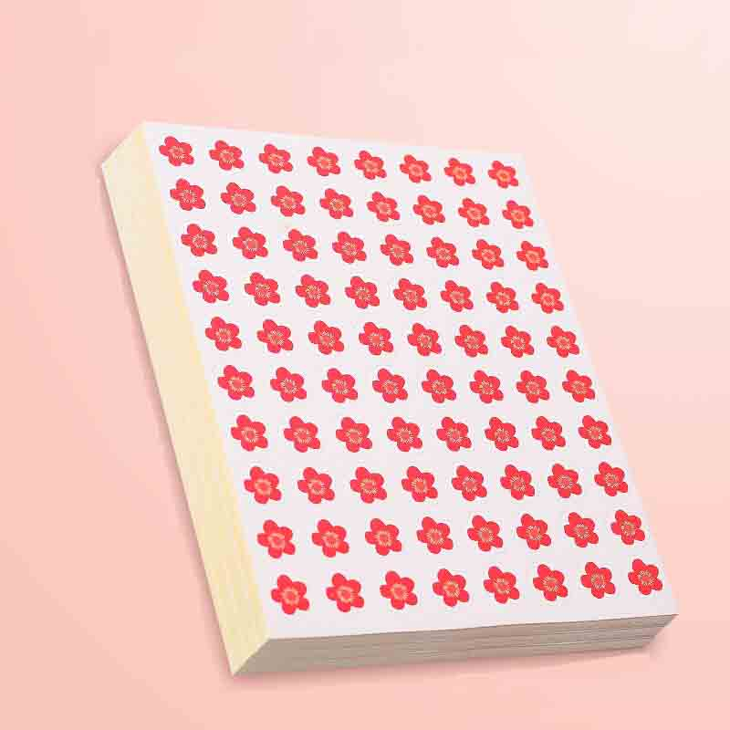 Tiny Red Flower Circular Stickers for Skin and Journals