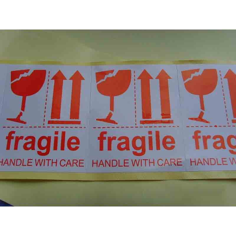 "Red ""Fragile, Handle With Care"" Sticker for Packaging and Shipping Items"