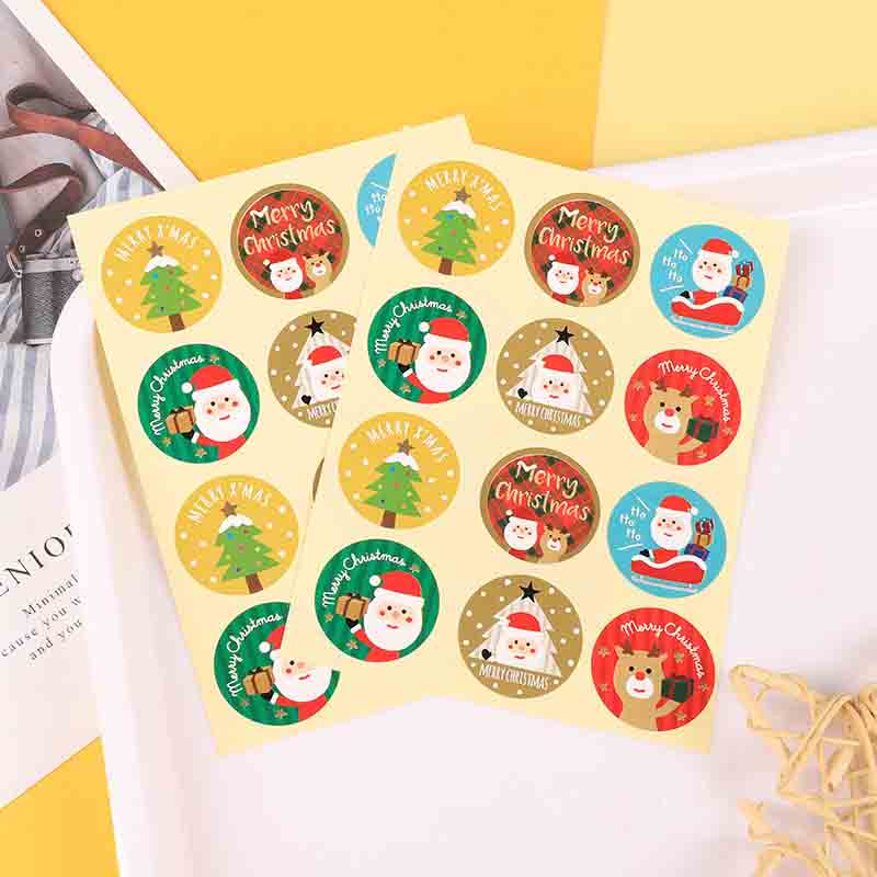 Circular Christmas Sticker Sets for Wrapping Christmas Presents