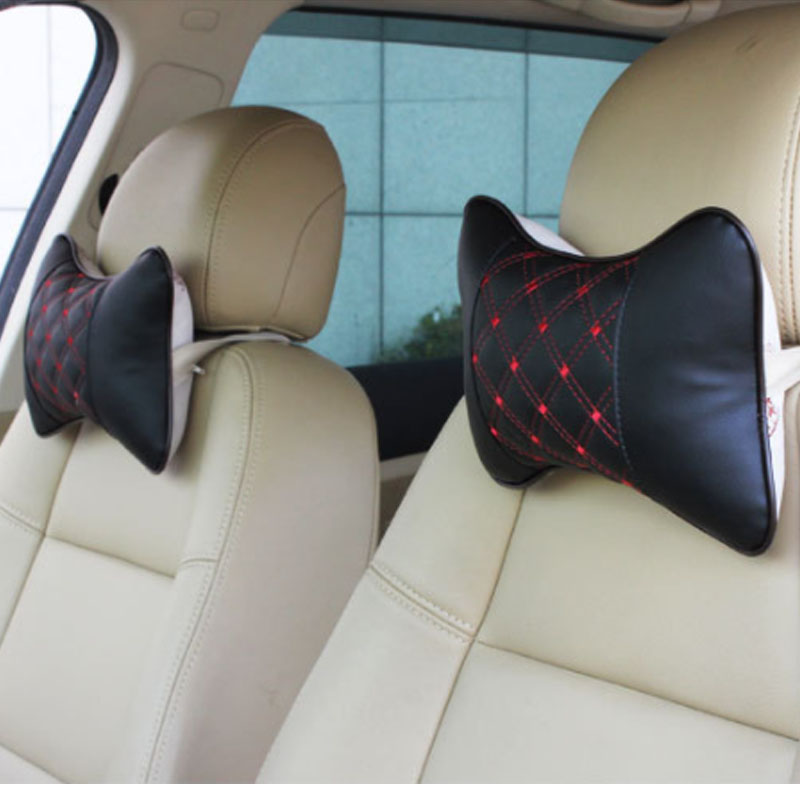 Embroidered Leather Car Headrest Neck Pillow for Exciting Getaway