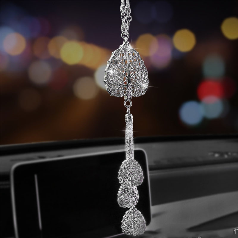 Sparkly Leaf Mirror Charm for Elegant Car Interior Decoration