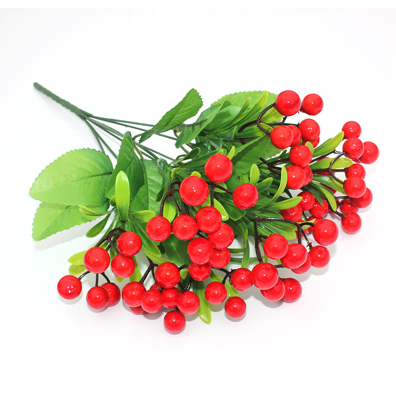 Aldrinna Faux Holly Berry Bunch