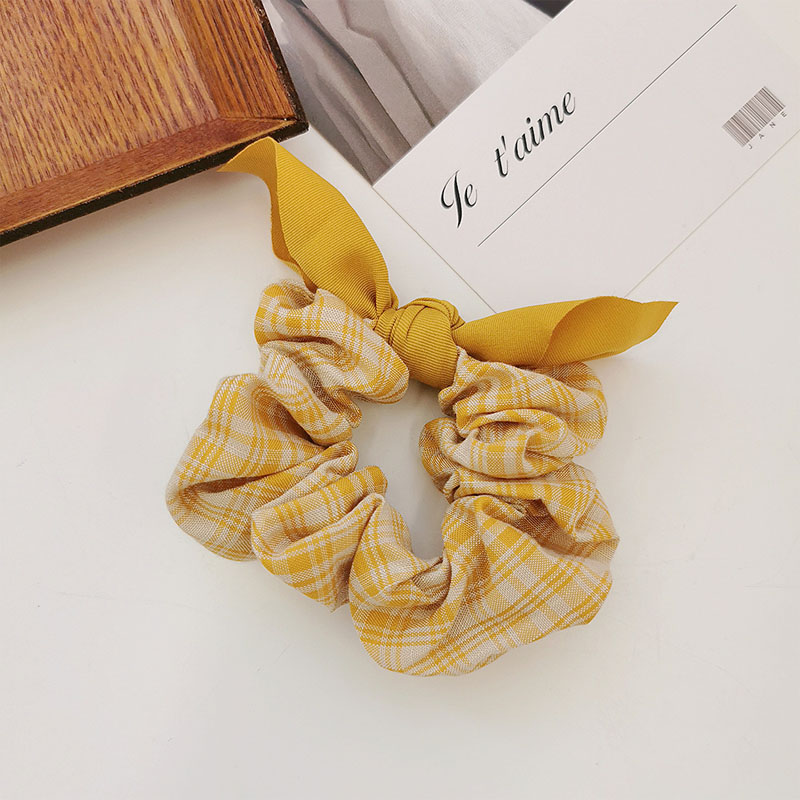 Regal Princess Plaid Knotted Bow Scrunchie for Tying Hair