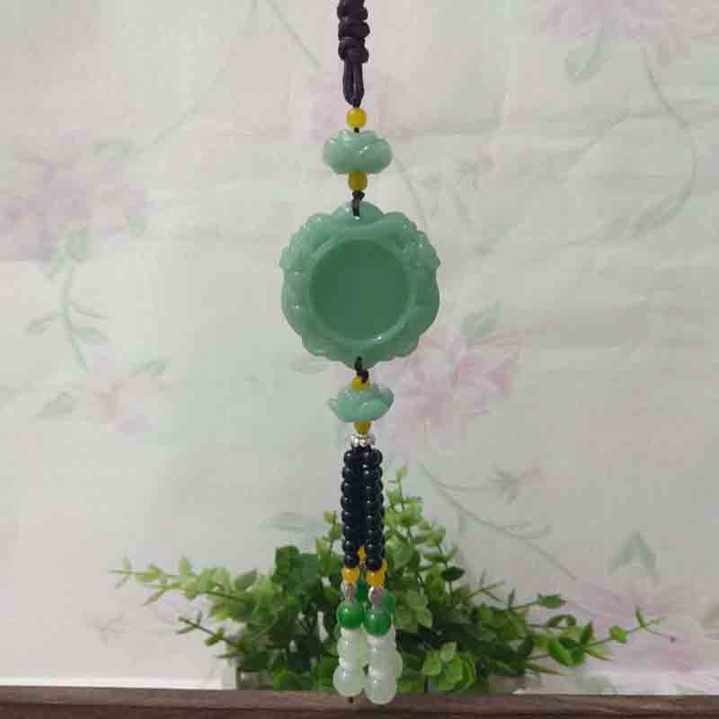 Creative Jade-Like Beads Rearview Mirror Decor for Vintage Touch