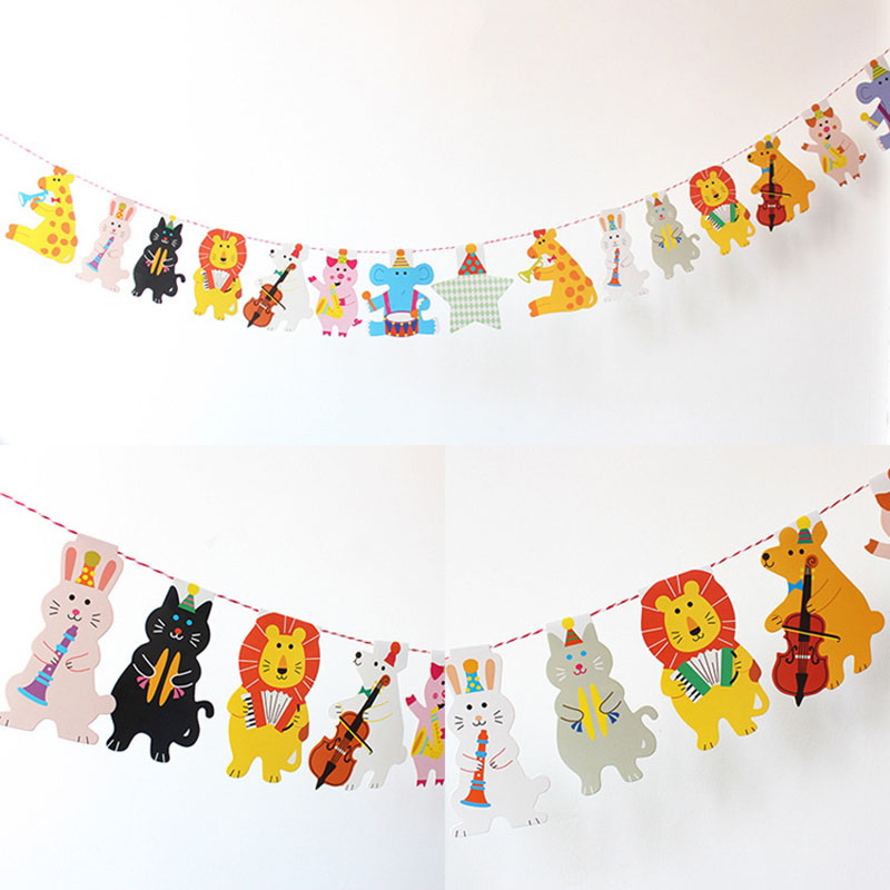 Cute Animal Hanging Banner for Children's Party Needs
