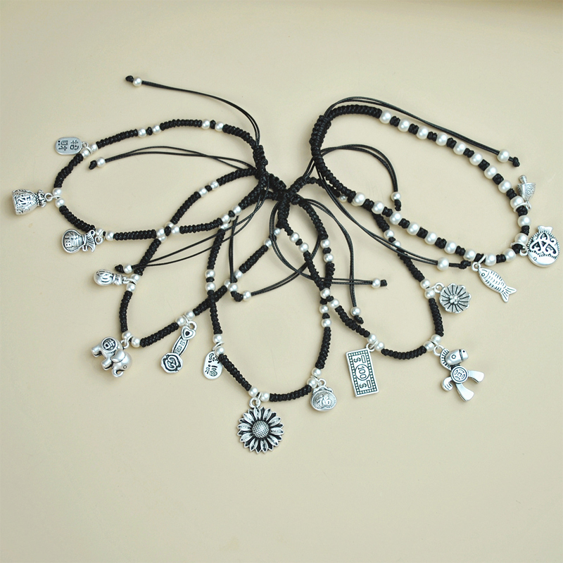 Enchanted Silver Charms Anklet for Better Fortunes