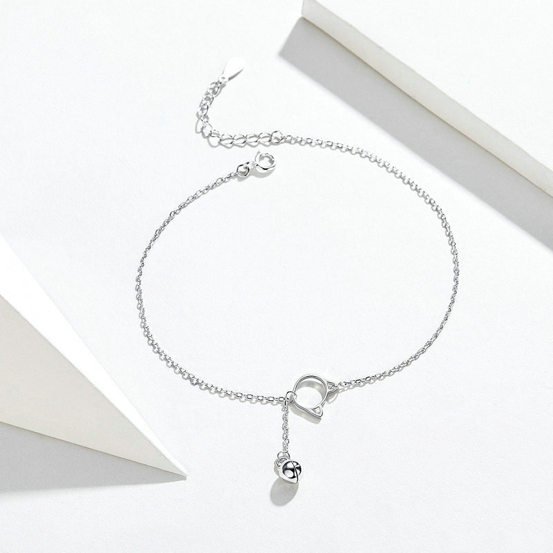 Simple Cat and Bell Open Chain Anklet with Extender for Everyday Wear