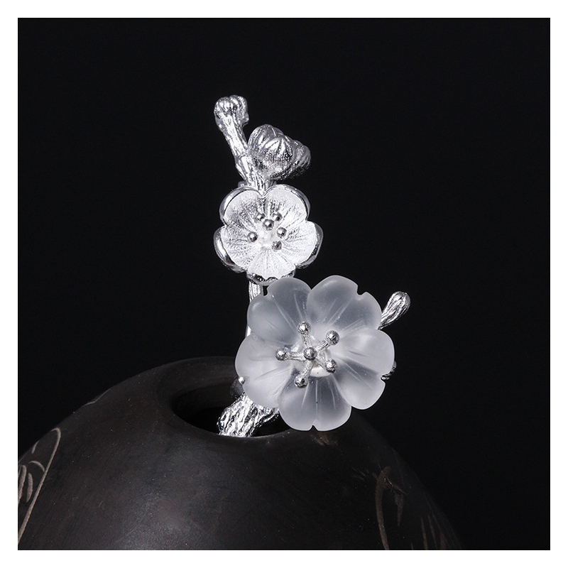 Black and White Cherry Blossom Pin for Polo Shirts