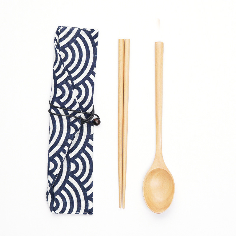 Asian Wooden Spoon and Chopstick Set for Chinese Restaurants