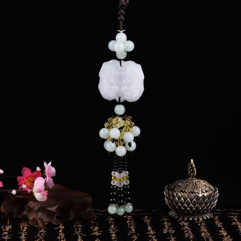 White Marble Bead Mirror Charm for Car Decorations