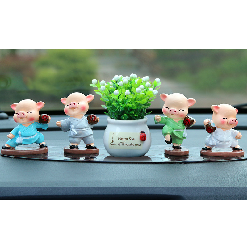 Adorable Kung Fu Pigs for Car Decor
