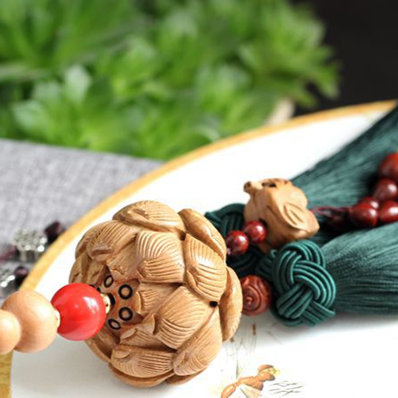 Wood Lotus Mirror Charm with Tassel for Car Decoration
