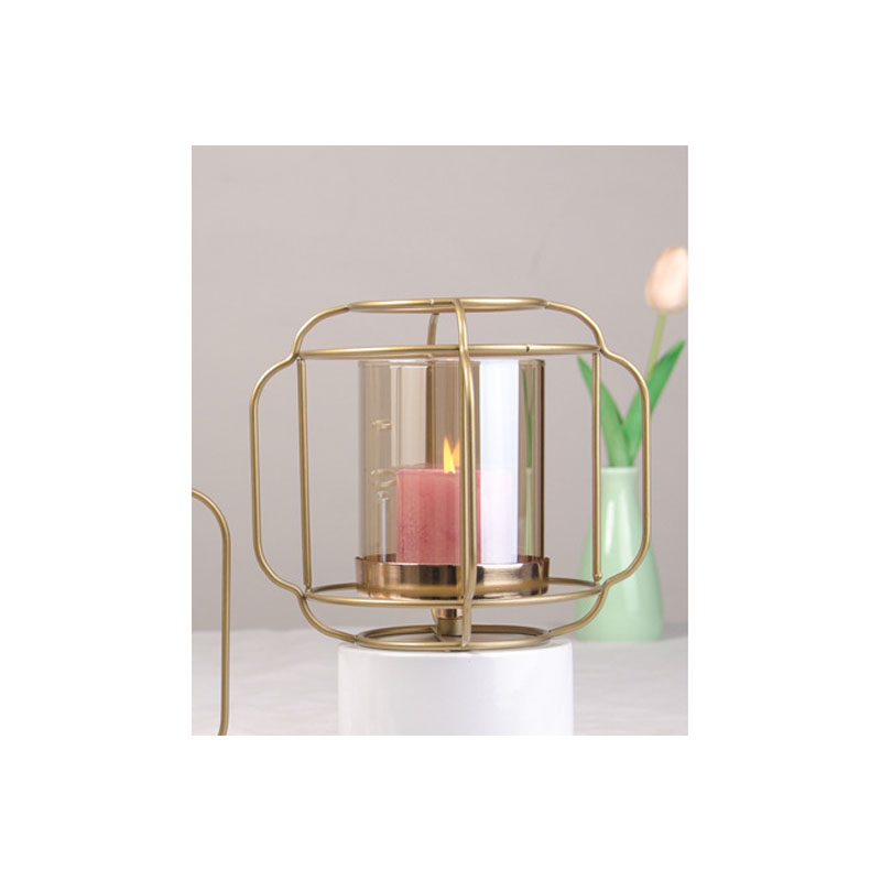Spherical Iron and Glass Candle Holder for Nordic Homes