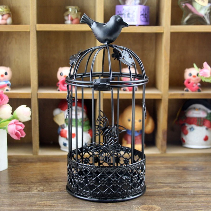Iron Bird Cage Candle Holder for House Decorations