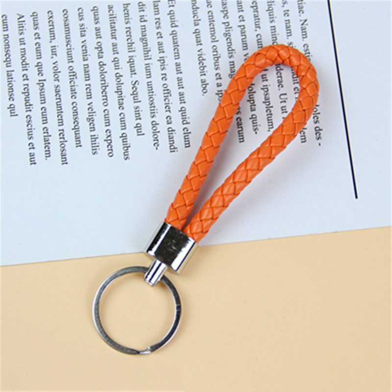 Simple Braided Leather Car Keychain for Gift