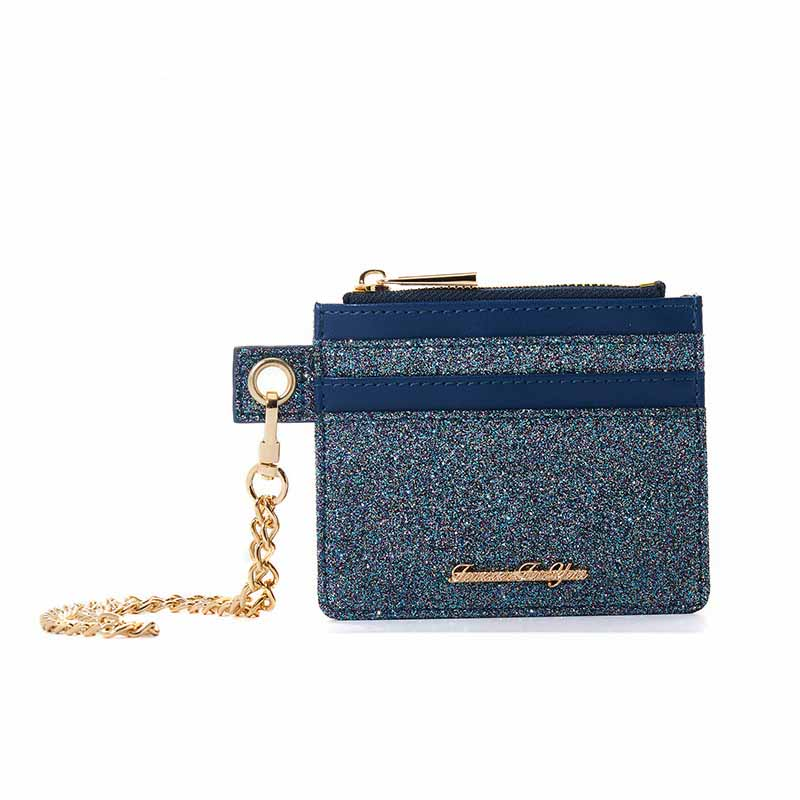 Trendy Short Zippered Wallet with Chain Wristlet for Ladies