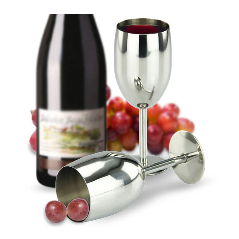 Shiny Stainless Steel Wine Goblet for Drinking At Home
