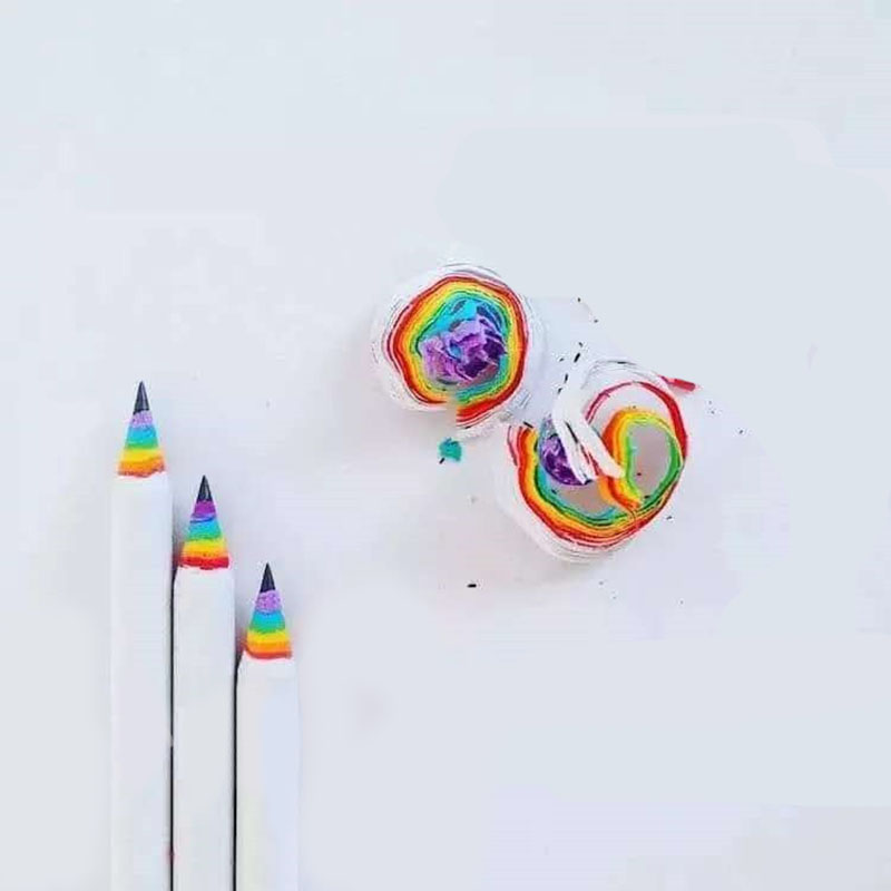 Creative Rainbow Colored Wood Black Pencil for Students