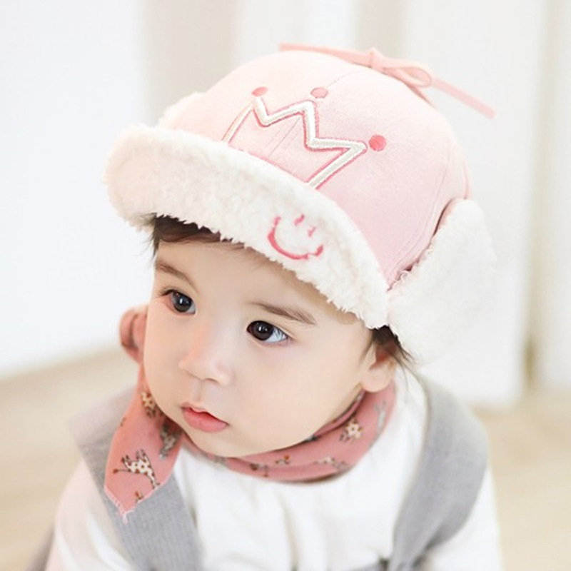 Fluffy Crown Trapper Hat for Babies
