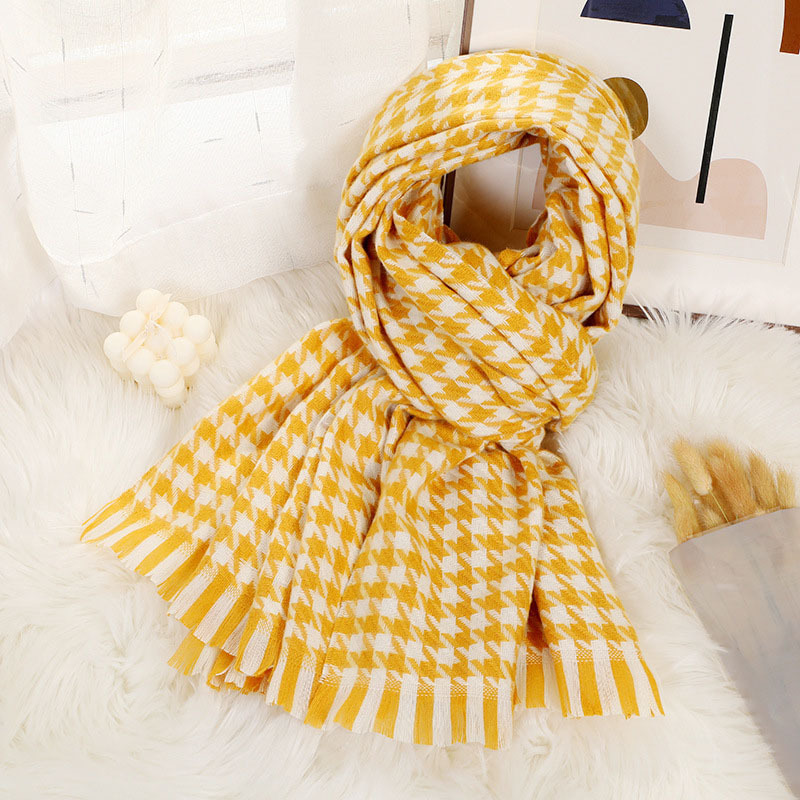 Houndstooth Fringed Scarf for Spring and Winter
