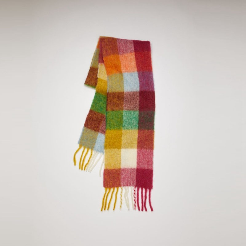 Multicolored Plaid Long Scarf for Winter Wear