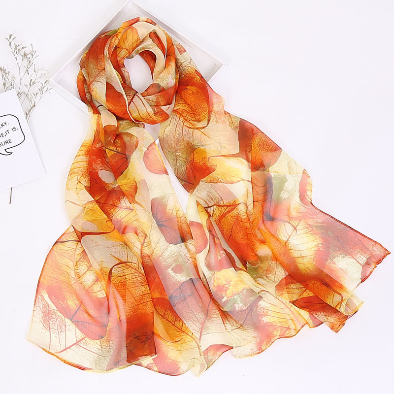 Thin Leaf Patterned Scarves for Fashionable Autumn