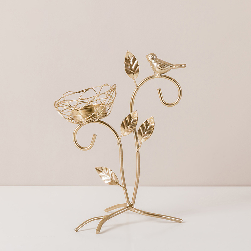 Garden-Themed Bird and Nest Wire Art Candle Holder for Intricate Table Decor