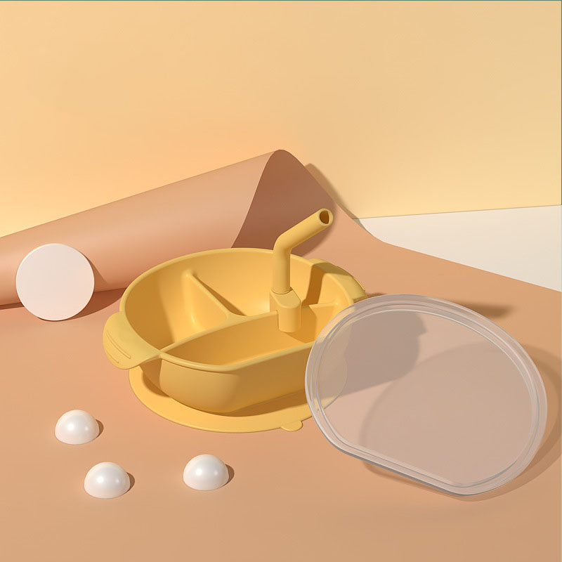 Convenient Three-in-One Meal Plate for Babies and Kids