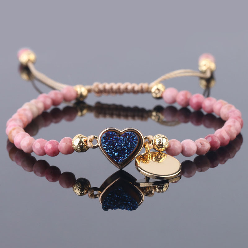 Dreamy and Cute Faux Blue Crystal and Pink Beads Bracelet for Casual Wear