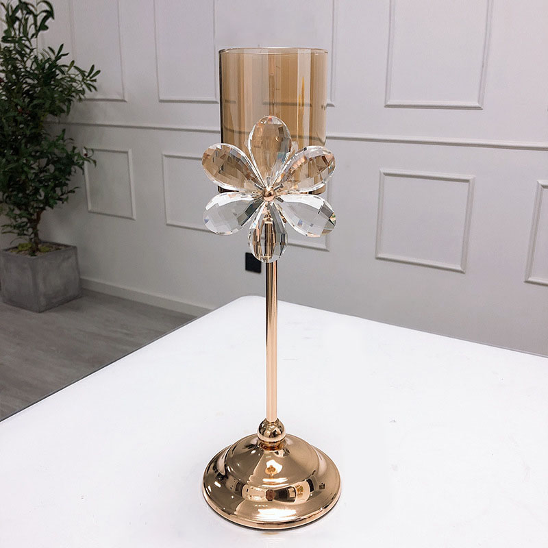 Floral Crystal Glass Candle Holder for Fancy Living Rooms