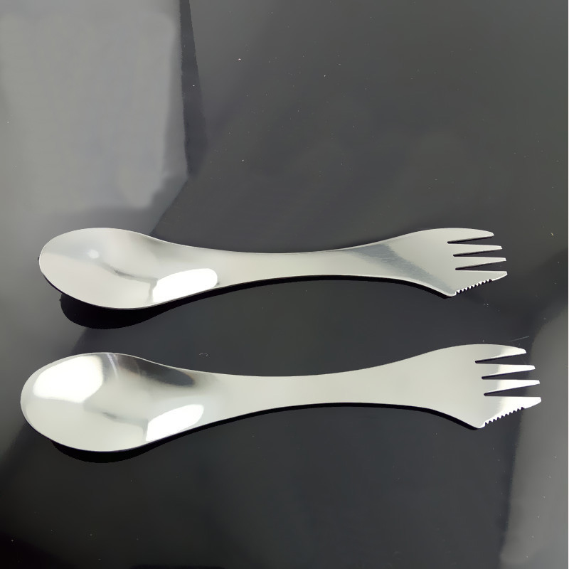 Two-In-One Stainless Steel Spoon and Fork for Dining